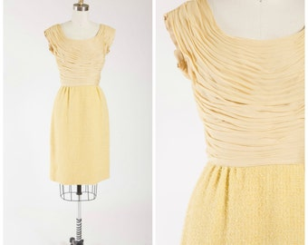 Vintage 1950s Dress • Gold and Precious • Butterscotch Yellow Chiffon Wool Boucle 50s Vintage Party Dress Size Small
