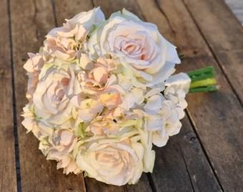 Wedding Flowers, Silk Bridal Bouquet, Destination Wedding, Keepsake Bouquet, Blush Pink Rose, Hydrangea #HollysWeddingFlowers