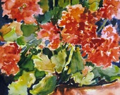 Watercolor Painting Potted Geraniums Original Art Still Life Red CarlottasArt