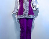 Vintage 1960s MONGOLIAN LAMB and Embroidered Trim Purple Suede Pant Suit // Hippie Boho Gypsy
