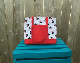 Minnie Mouse Purse, Minnie Mouse Tote, Shoulder Bag, Diaper Bag, Lined Tote, Lined Bag, Fabric Bag, Everyday Bag, Overnight Bag, RTS