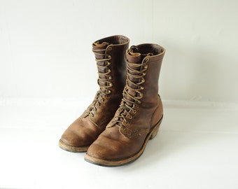 Vintage Tall Brown Leather Lace Up Work Boots mens 10