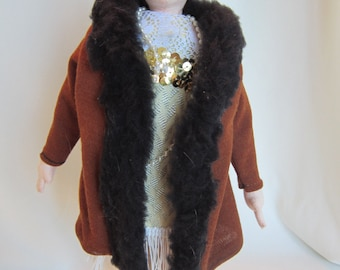 Flapper Flo 1920s cloth doll with cloche and fur trimmed coat collectible doll