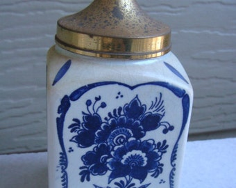 Blue handpainted Delft Blue & White PORCELAIN  JAR