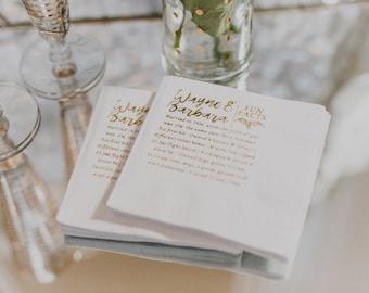 Fun Facts Napkin Anniversary Wedding Gold Foil Napkins Bar
