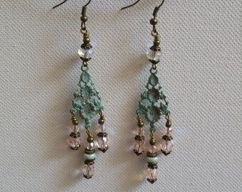 Pink Earrings Green Earrings Spring Earrings Bohemian Romantic