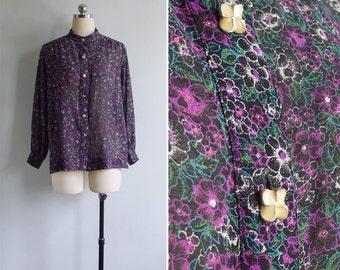 Vintage 80's 'Blooming Violets' Floral Mandarin Collar Sheer Blouse M or L