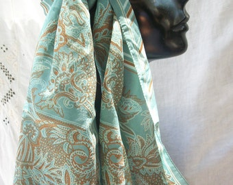 Blue Brown and Cream ~ Earthy ~ Long Scarf~ Bohemian Style Vintage Paisley and Stripes Headscarf Hippie ~ Gypsy Chic ~ Festival