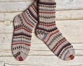 Knitted wool socks Norwegian pattern, knit wool socks, winter midcalf socks, handmade socks