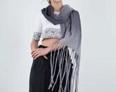 Fringes Scarf wool felt, Boho Hand dyed shrug capelet, grey ombre cozy wrap, Long boho fringes