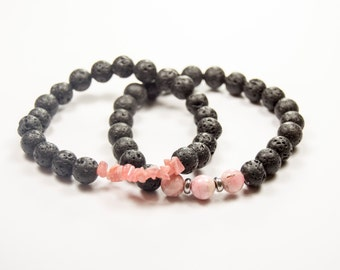 Sexual Abuse and Rape Victim Emotional Healing - Grieving - Rhodochrosite & Lava bead - Essential Oil diffuser bracelet