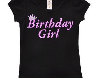 Birthday Girl Shirt Party T-Shirt Black and Purple Shirt Tee Tween Girl Teen Girl Birthday Shirt Personalized Name 3 4 5 6 7 8 9 10 11 12 13