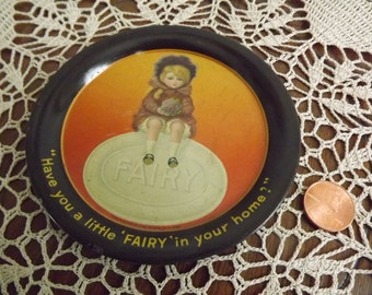 Edwardian Advertising, Fairy Soap, tray, pin tray, tip tray, 1900s, Shonk, Lithograph, soap dish