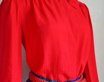Vintage Red Silk Secretary Blouse Collar with Bow 1970's Size Small