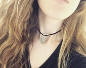The Leather Hamsa Choker (In Black)-- Brown Suede Choker Hamsa Hand Choker Necklace Brown Suede Leather Choker Necklace