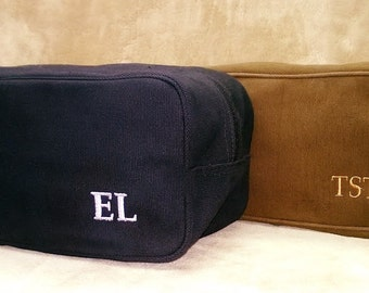 12 Men's Canvas Toiletry Bags Black or Brown Groom Groomsmen Gifts