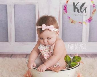 Pink Baby Headband - Baby Girl Headband - Gold Headband - Newborn Headband - Baby - Baby Girl - Infant Headband - Bow - Headbands for Baby