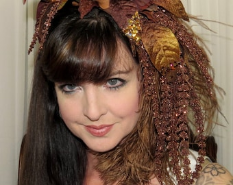 CHOCOLATE PARISIAN Brown Can Can Style Headdress Hair Adornment