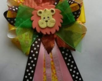 Baby shower corsage/FREE shipping for just 14.99 / your choice/Giraffe/ Lion/ Monkey/animal theme/Safari/ Jungle/ COLD PORCELAIN/Beautiful