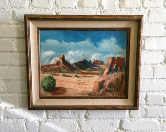 1950s-60s American Southwest Large Framed Vintage Painting Mid Century by PYLE