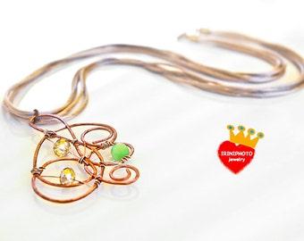 Swirl-wire pendant,copper jewelry,Cat's Eye,wire jewelry,handmade jewelry,satin cord,long,boho chic,unique,bohemian necklace,fun,copper wire