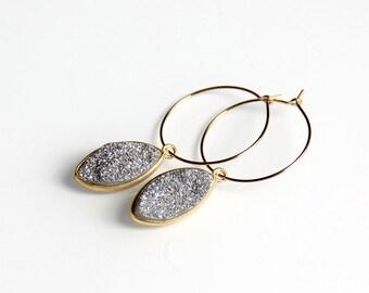 Silver Druzy Hoop Earrings - Marquis, Drusy, Gold Hoop, Metallic, Drop Earrings