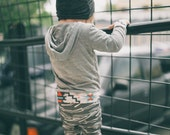 "Organic Toddler Leggings   ""Agave""   White on Charcoal Grey   Organic Cotton Pants"