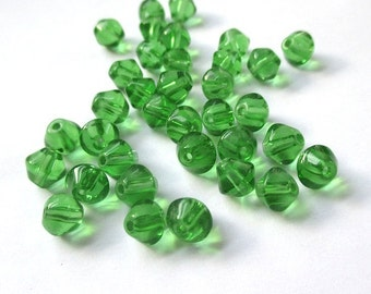 6mm Green Glass Beads, Clear Green Bicones, Bright Green Beads. DIY Christmas. Festive Holiday. Jewelry Making Supplies - 35 Pieces