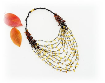Amber Necklace - Genuine Baltic Amber Chips Necklace - Multistrand Necklace - Airy Necklace - Gift for Mum