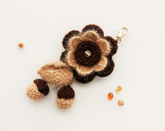 Crochet Keychain - Bag Charm - Hanging Keychain - Crochet Flower - Acorn - Unique Handmade Gift - Hanging Decoration