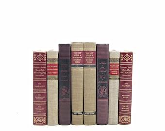 VIntage Book PAIRS, Antique Decorative Books, Red Wine Book Set, Beige Book Decor, Instant Library, Home Office Decoration, Interior Design