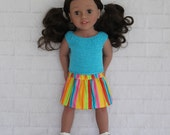 Cool Afternoon Aqua Knitted Top Yellow Stripe Skirt - Dolls clothes to fit Australian Girl dolls