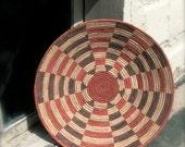 Vintage Handmade Basket, Bullseye Pattern, Large Shallow Bowl, Natural Fibers, Rust Reds on Tan, Excellent Condition, Southwest Decor