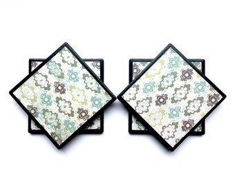 Green Coasters/Pretty coasters/Cute Coasters/Coaster Set/Tile Coasters/Turquoise Decor