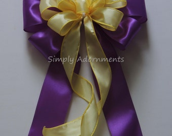 Purple Yellow Wedding pew bow Yellow Purple Graduation Party Decoration Purple Yellow Ceremony Chair Bow