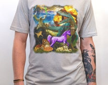 The Most Epic T-shirt of All Time - Men's Hand Printed Graphic Tshirt- Pizza, Unicorn, Dinosaur, Cat, Sloth, Cheeseburger, light saber