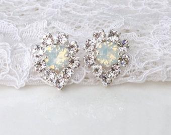 White Opal Earrings White Opal Teardrop White Wedding White Bridesmaids Winter Wedding Swarovski Crystal White Bridal Silver Stud Earrings