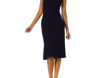 1980s Alaia Halterneck Jersey Navy Dress Size: XS