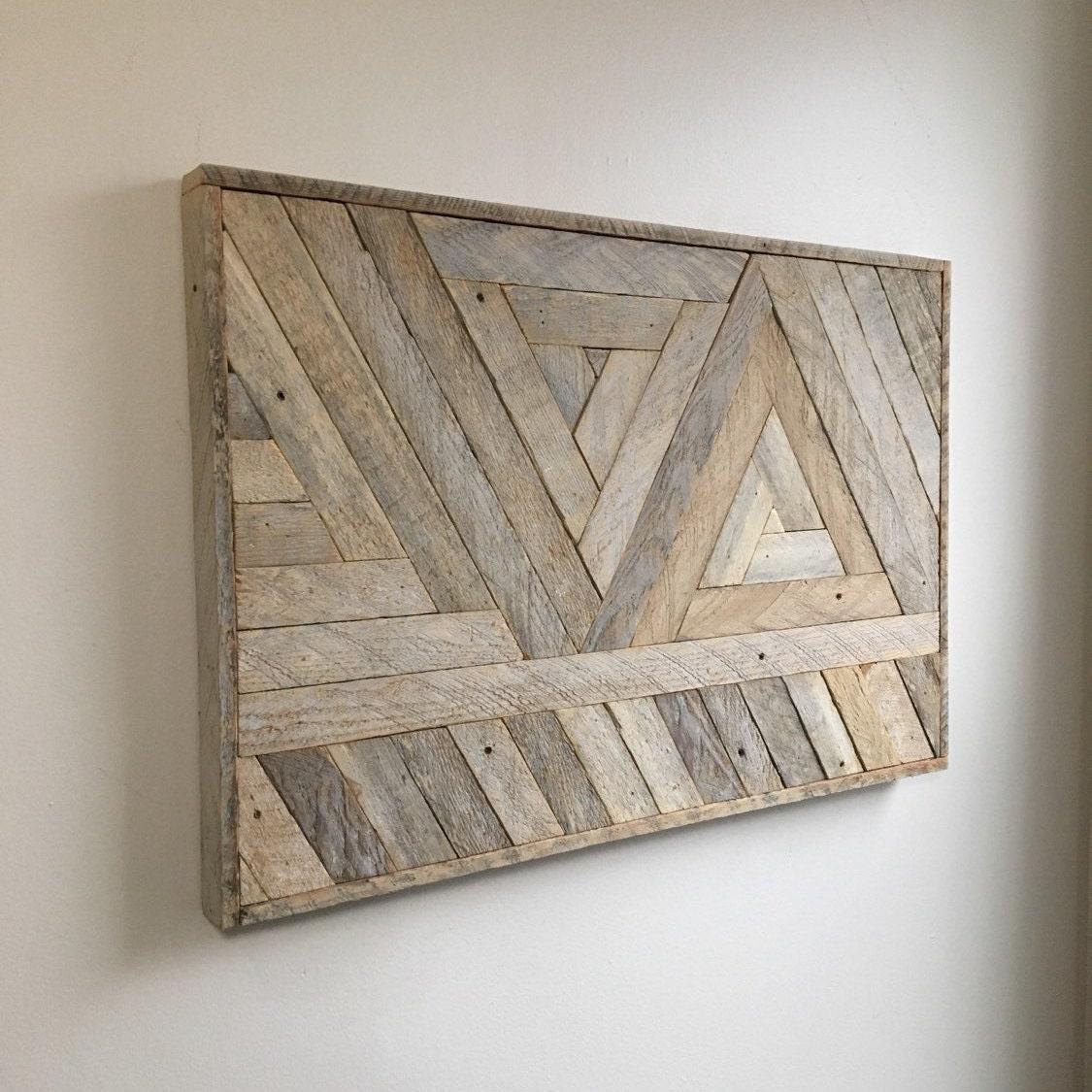 reclaimed lath wood wall art