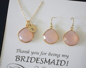 5 Pink Bridesmaid Initial Necklace and Earring set, Bridesmaid Gift, Blush Pink Gemstone, 14k Gold Filled, Initial Jewelry, Personalized