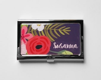 Personalized Business Card Holder, Business Card Case, Tropical Flowers Steel Credit Card Holder, Personalized Gift, Custom Gift for Her E09