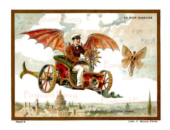 Instant Download Fantasy French Trade Card Digital Image, Vibrant Colors