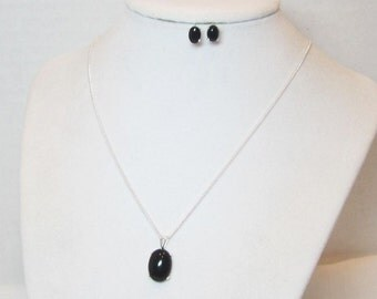 Black Onyx Necklace - Onyx Earrings - Necklace Earrings Set - Jewelry Set - Gifts for her - Womens gifts