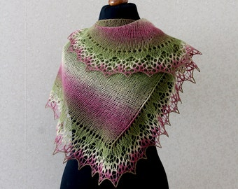 Elegant wool lace scarf - peony, green, white