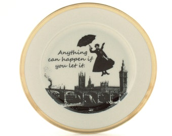 Redesigned  Mary Poppins Plate Vintage Nanny Quote Porcelain Musical Film Big Ben London England Sugar-White Brown Romantic