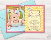 Lemonade Invitation, Lemonade Party, Sunshine Lemonade First Birthday Invite, Mason Jar, First Birthday, Lemonade Stand, Photo Printable