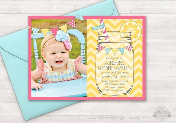 Lemonade Invitation, Lemonade Party, Sunshine Lemonade First Birthday Invite, Mason Jar, First Birthday, Lemonade Stand, Photo Printable