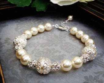 Bridal Bracelet Pearl, Bridal Pearl Bracelet, Mother of the Bride Bracelet, Bridesmaid Bracelet, Wedding bracelet, Bridal Bracelet, Bracelet