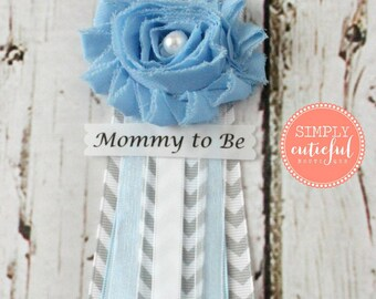 Blue Grey Chevron Baby Shower Corsage with Mommy to Be Grandma to Be and Custom Pins Badge