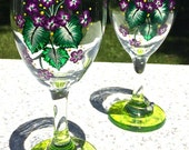 Hand Painted Wine Glasses With Violets and Wine Glass Charms, Christmas Gift, Holiday Gift, Birthday Gift, Anniversary Gift, Wedding Gift